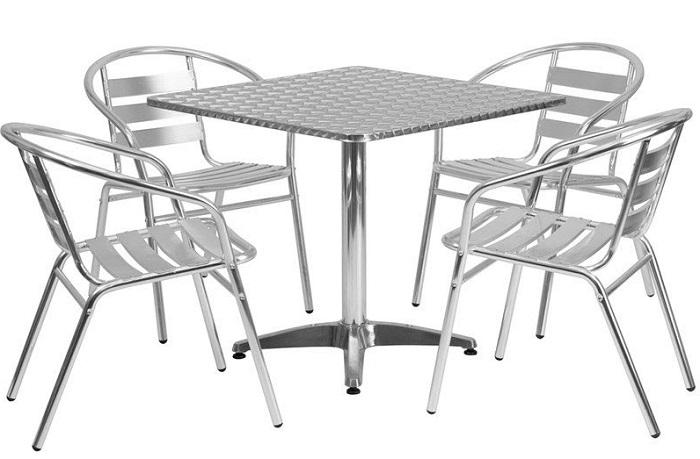 Bàn ghế inox thường đường dùng trong nhà ăn công nghiệp