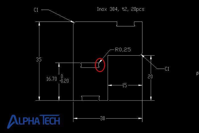 R quá nhỏ - lưu ý khi gia công cắt laser kim loại tấm